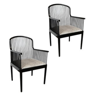 Art Deco Style Black Lacquer and Smoked Platinum Velvet Armchairs - a Pair For Sale