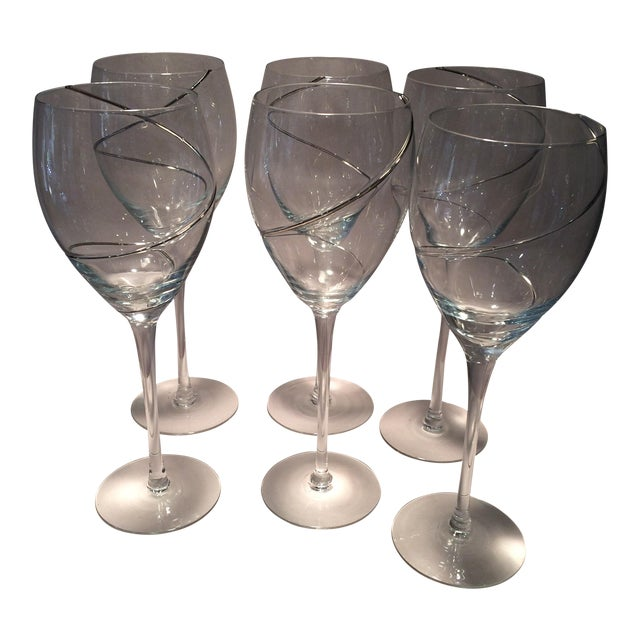 Vintage Silver Swirl Crystal Glasses - Set of 6 For Sale