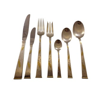 Golden Wheat by Gorham Sterling Silver Flatware Set for 8 Service 57 Pieces For Sale