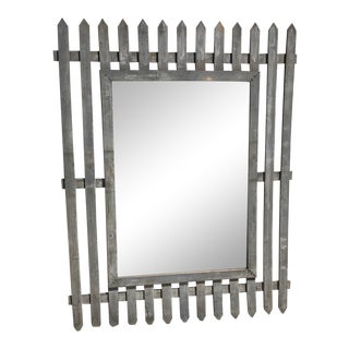 Unique Vintage Picket Fence Style Framed Mirror For Sale