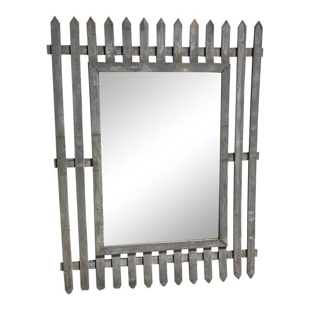 Unique Vintage Picket Fence Style Framed Mirror For Sale