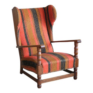 Danish 1930's Midcentury Country Style Wingback Armchair in Solid Oak For Sale