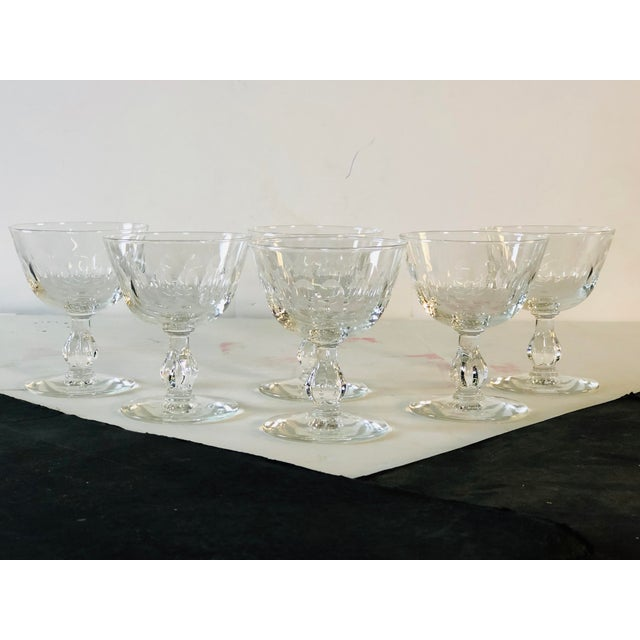 1950s Mitred Glass Coupe Stems, Set of 6 For Sale - Image 9 of 9