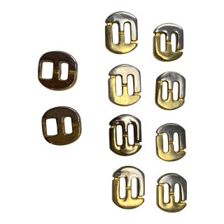 Vintage Ferragamo Gold and White Tone Metal Buttons For Sale