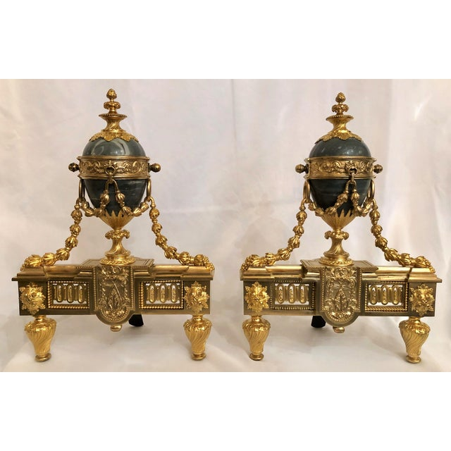 Louis XVI Pair Antique French Louis XVI Marble and Bronze d'Ore Chenets For Sale - Image 3 of 3