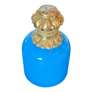 Blue Opaline Perfume Bottle With Gilt and Hand Painted Top For Sale