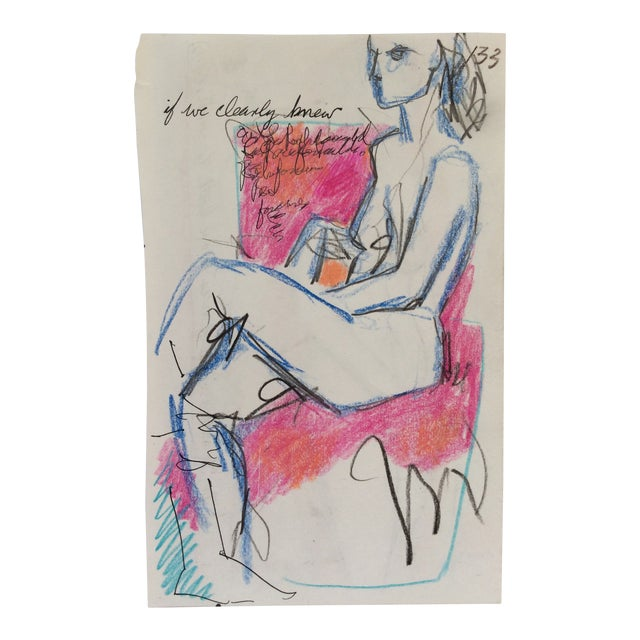 If We Clearly Knew Female Nude Drawing by James Bone 1990 For Sale