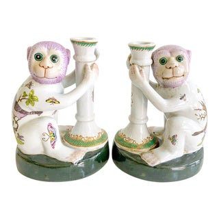 Vintage Pair of Porcelain Chinoiserie Monkey Candlesticks