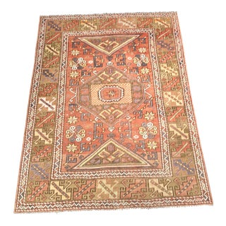 "Vintage Turkish Oushak Orange Tone Rug - 4'4""x6'"