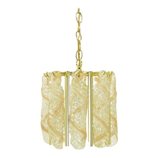 Spiral Pink & Clear Murano Glass Chandelier For Sale