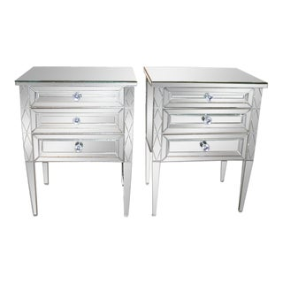 Pair of Diamond Front Mirrored Commodes For Sale