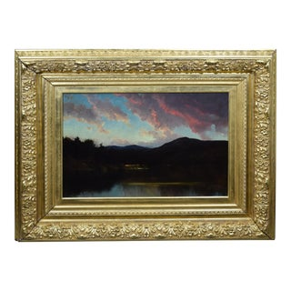 Late 19th Century Antique American Hudson River School Sunset Mountain Landscape Oil Painting by M DeForest Bolmer Circa 1875 For Sale