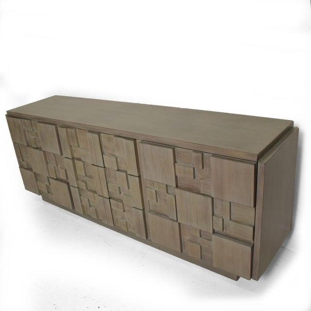 Gray Lane Mid-Century Modern Brutalist Credenza Dresser in Custom Grey Finish For Sale - Image 8 of 8