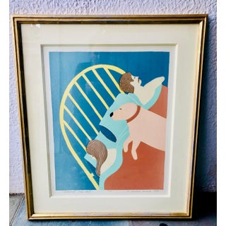 """1997 Stephen Huneck Signed Woodcut Print """"Hogging the Bed"""" Preview"""