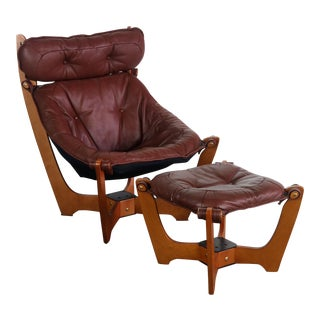 Highback Luna Chair With Ottoman in Milk Chocolate Leather by Img Norway Designed by Odd Knutsen For Sale