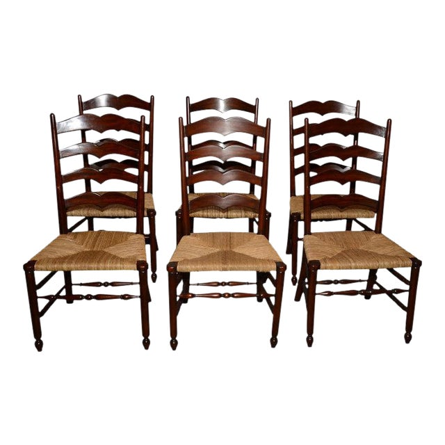English Ladder Back Dining Chairs - Set of 6 - Image 1 of 10