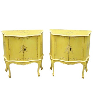 Small Italian Florentine Yellow Floral Painted Bombe-A Pair For Sale