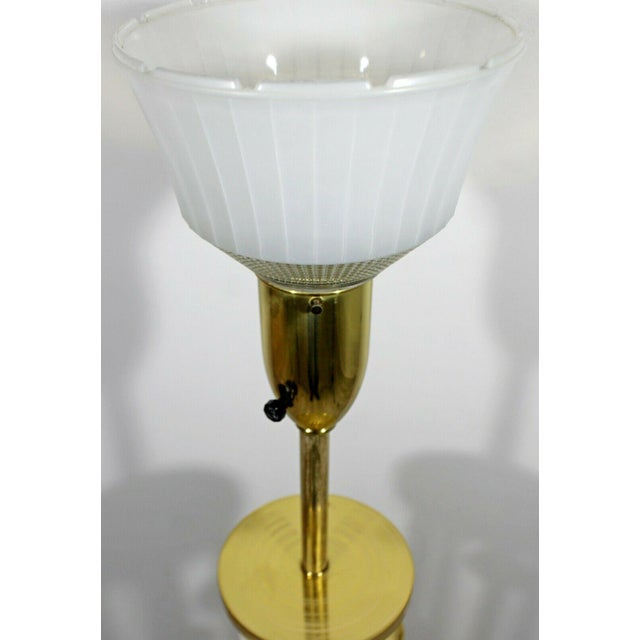 1970s Mid Century Modern Hollywood Regency Deco Brass Marble Floor Lamp Parzinger Attr For Sale - Image 5 of 8