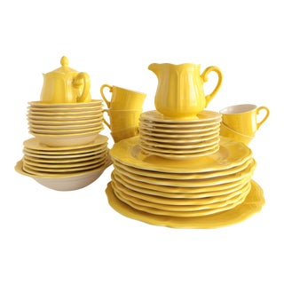 Lemon Federalist Ironstone Dinnerware - 42 Pieces For Sale