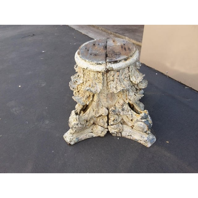 Antique Iron and Wood Corinthium Column Base For Sale In San Antonio - Image 6 of 11