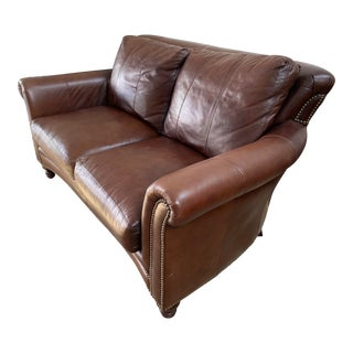 Fedde Brown Leather Loveseat For Sale
