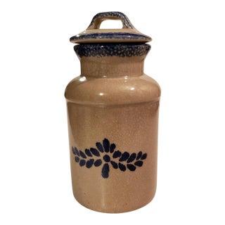 Vintage Ceramic Jar With Lid Gray With Blue Design For Sale