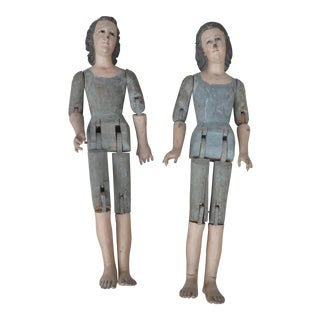 19th Century Vintage Spanish Colonial Jointed Wood Santos Sculptures- A Pair For Sale