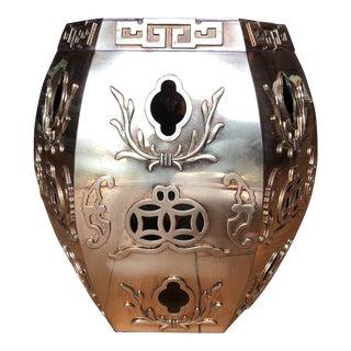 Greek Key Ming Asian Solid Brass Stool