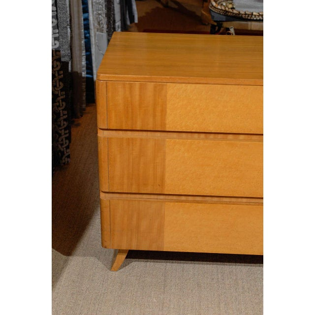 Lovely modern six-drawer chest by Rway, circa 1940s. Blonde mahogany with bird's-eye maple accents. Simply stunning!...
