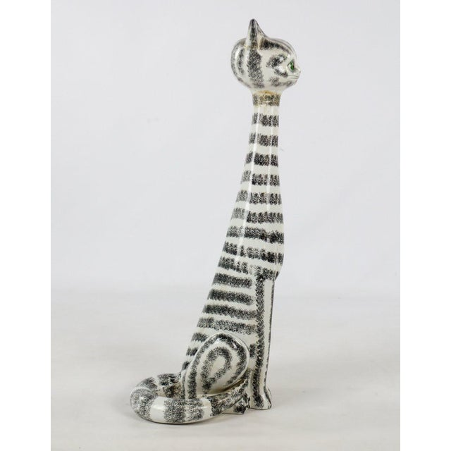 Italian Mid-Century Italian Majolica Tall Ceramic Cat Sculpture For Sale - Image 3 of 13
