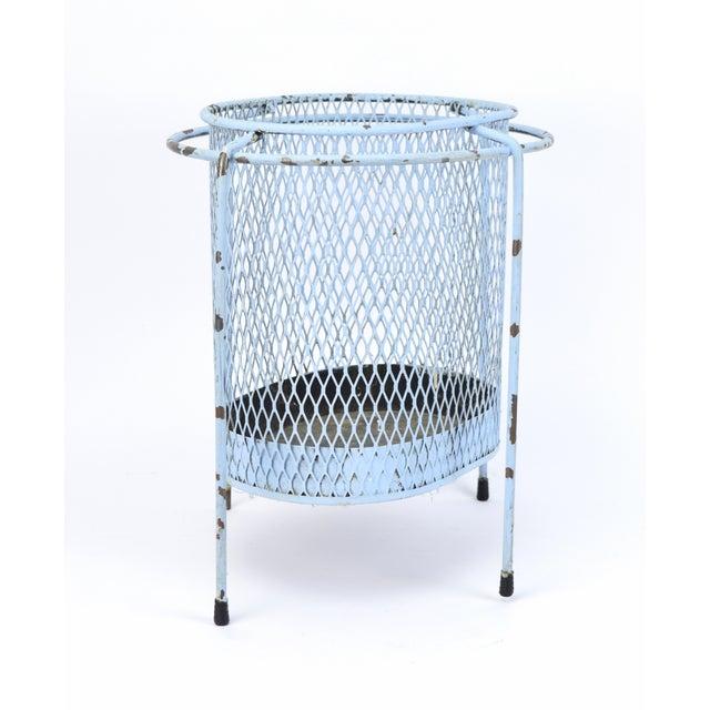 Circa 1953 Maurice Duchin Iron Mesh Mid-Century Modernist Waste Basket For Sale - Image 4 of 6