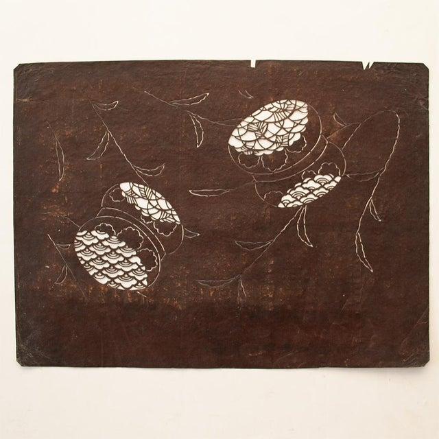 C.1850s Antique Edo Era Japanese Katagami Stencil Art For Sale In Dallas - Image 6 of 9