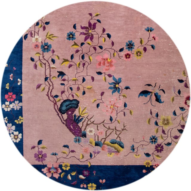 Antique Rose Chinese Art Deco Wool Rug 8 Ft 9 in X 11 Ft 8 In. For Sale - Image 9 of 12
