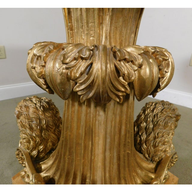 Wood Neo-Classical Style Gilt Lion Carved Center table Round, Mosaic Tessellated Stone top For Sale - Image 7 of 13