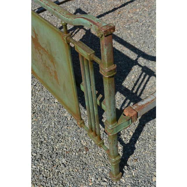 Art Deco 1800's Antique European Cast Iron Steel Green Shabby Chic Scenic 3/4 Bed Frame For Sale - Image 3 of 13