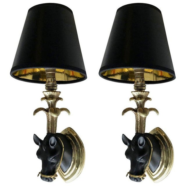 French Mid-Century Modern Black & Gold Bronze Horse Sconces, Wall Lights - Pair For Sale - Image 13 of 13