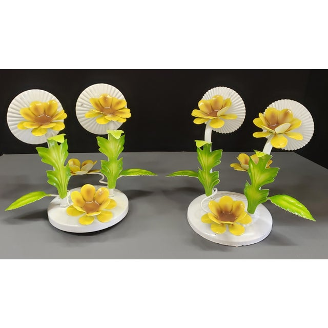 Italian Tole Yellow Daffodil Sconces - a Pair For Sale In Austin - Image 6 of 10