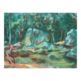 'Bathers by a River', French School Impressionist Pastel For Sale