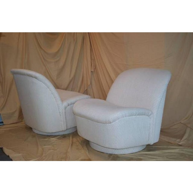Vintage Directional White Swivel Chairs - a Pair - Image 3 of 6