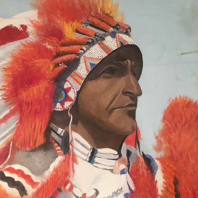 Indian Chief Oil Portrait - Image 6 of 7