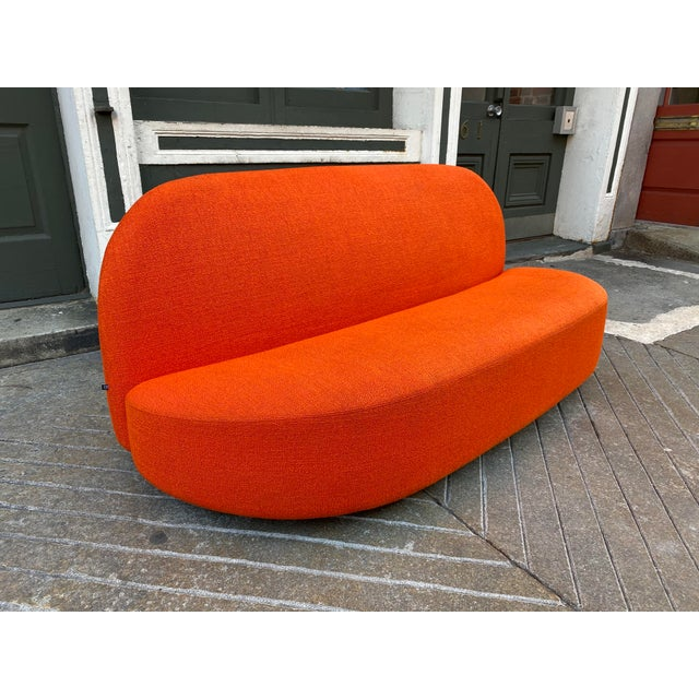 Mid-Century Modern Pierre Paulin Orange Loveseat For Sale - Image 3 of 10