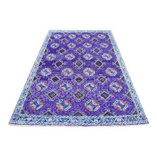 Purple Colorful Afghan Baluch Hand Knotted Tribal Design Wool Rug For Sale