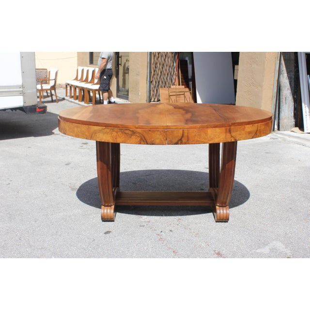 French Art Deco Solid Walnut Oval Dining Table ''U'' Legs Base Circa 1940s - Image 2 of 13