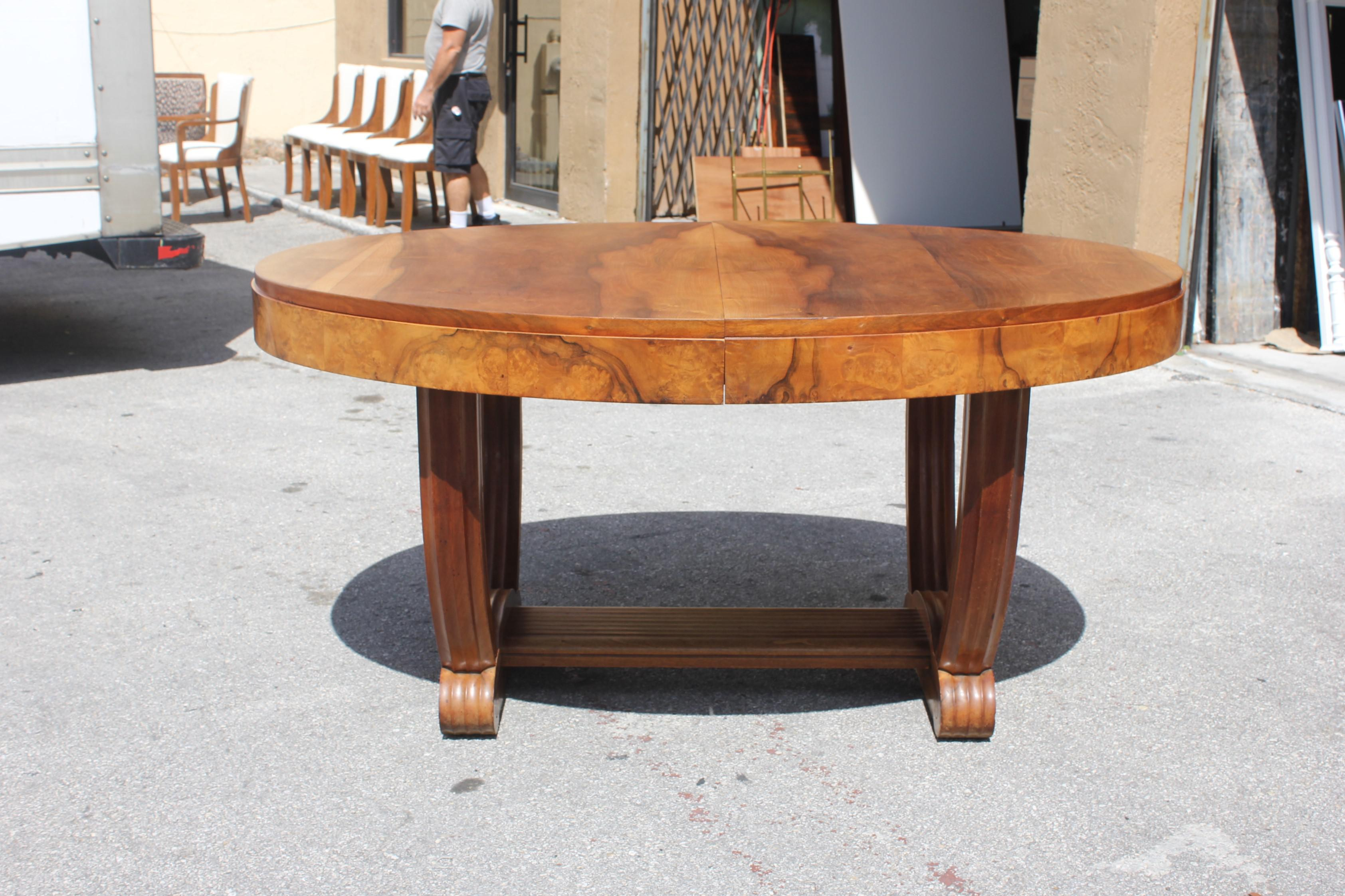 French Art Deco Solid Walnut Oval Dining Table U0027u0027Uu0027u0027 Legs Base Circa