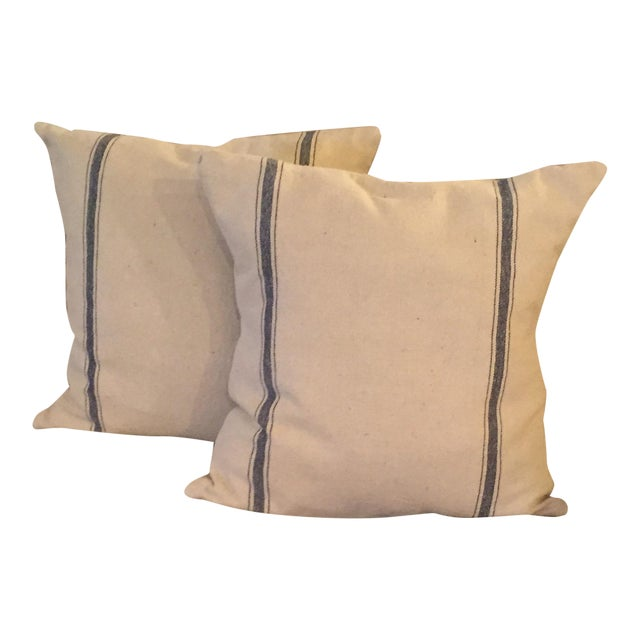 French Grain Sack Throw Pillows - Pair - Image 1 of 3