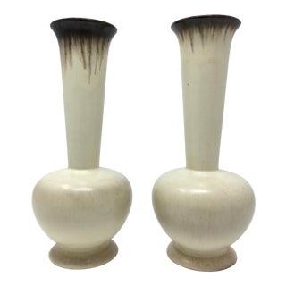 Mid-Century Modern Winter White Drip Glaze Vases - a Pair For Sale