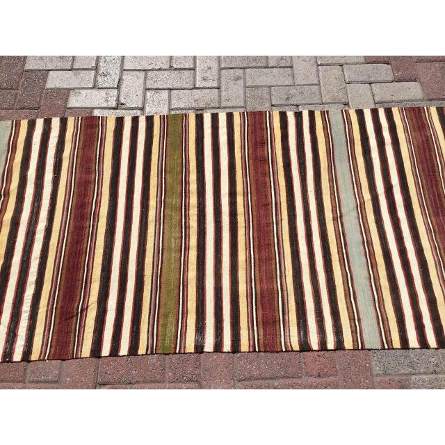 Rustic Vintage Striped Turkish Kilim Runner Rug For Sale - Image 3 of 9