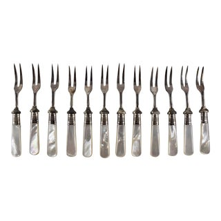 Sheffield Silver & Pearl Handle Antipasto, Seafood or Hors d'Oeuvre Forks- S/12 For Sale