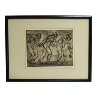 """E. Glicenstein 1930's WPA Style """"3 Workers"""" Etching For Sale"""