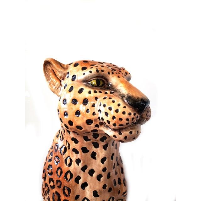 Vintage Life Size Ceramic Cheetah Statue / X Large Hollywood Regency Ceramic Cat Fierce find with captivating eyes...